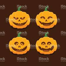 halloween vectors set pumpkins with different expressions for halloween stock