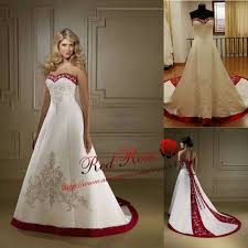 cheap wedding dresses with long train red and white wedding