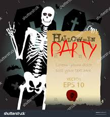 spooky halloween party invitation wording halloween skeleton scary party invitation stock vector 86884387