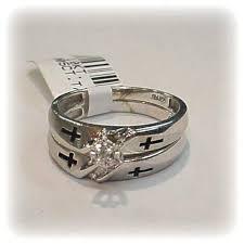 christian wedding bands diamond christian cross wedding ring set gold 10k