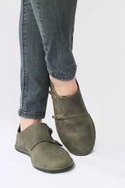 womens brown leather boots sale image of monk in distressed olive leather s