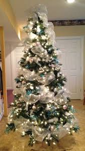 Blue And Silver Christmas Tree - christmas tree with teal u0026 silver deco mesh love my tree
