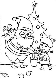 santa claus and a little near christmas tree coloring pages