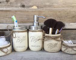 Mason Jar Bathroom Decor Gray Bathroom Decor Gray Bathroom Set Gray Mason Jar