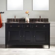 Hawkins Mahogany Double Vanity For Undermount Sink Black - Black bathroom cabinet with sink