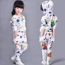 aliexpress com buy little girls printed fashion clothing set