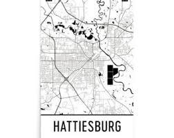 map of hattiesburg ms hattiesburg etsy
