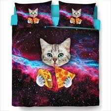 Pizza Duvet Home Accessory Cat Bed Setting With Galaxy Bedding Cats Pizza