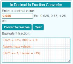 Inches Fraction Table Decimal To Fraction Calculator