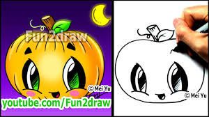 how to draw a pumpkin for halloween fun2draw cartoon tutorial