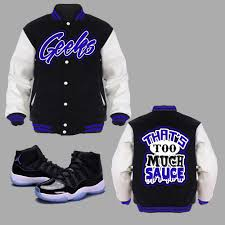 jordan space jams sneakergeeks clothing that u0027s too much sauce varsity jacket to