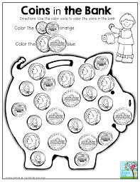 coin identification worksheet coins in the bank use the color code to color the coins in the