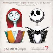 nightmare before christmas cupcake toppers instant printable and sally toppers wrappers