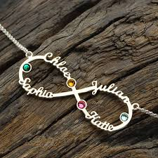 infinity necklace with initials silver infinity 4 names necklace with birthstones personalized