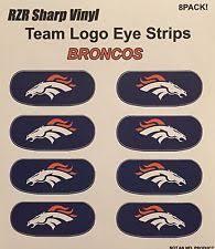 Nfl Decorations Nfl Denver Broncos Logo 6 Pack Eye Black Strips Vinyl Face