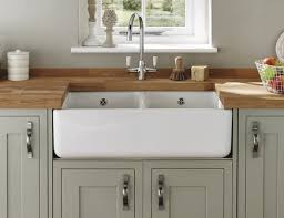 Lamona White Ceramic Double Belfast Sink Ceramic Kitchen Sinks - Belfast kitchen sink