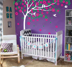 Purple Wall Decals For Nursery Decoration Cherry Blossom Wallpaper For Purple Wall Nursery Room