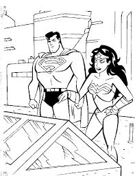 superman wonderwoman coloring boys pages