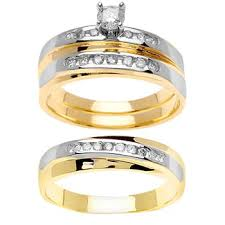 wedding ring depot 79ct tcw 14k two tone gold trio ring set 9003357 shop at