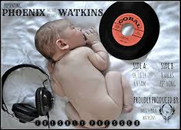 lover adorable baby with s vintage records dj