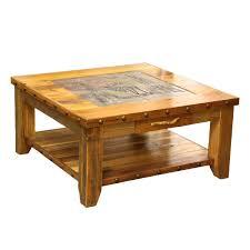 tile top coffee table barnwood elk scene tile top coffee table with nailheads