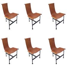 set of six 1940s leather and iron sling dining chairs at 1stdibs