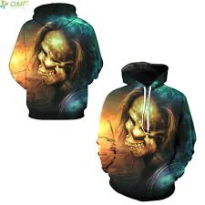 colorful sugar skull hair print hallowmas hooded hoodies fashion