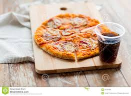 Kitchen Table Close Up Close Up Of Pizza With Coca Cola On Table Stock Photo Image