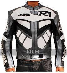 motorcycle racing jacket r1 motorcycle racing grey real biker leather jacket