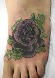 purple rose on foot by doug hansen tattoonow small purple