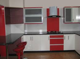 minimalist modern small kitchen design ideas with glossy red and f