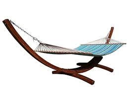 petras 14 ft wooden arc hammock stand and double hammock set 450
