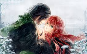 wallpaper anime lovers art anime lovers red hair girl and short hair boy hd wallpapers