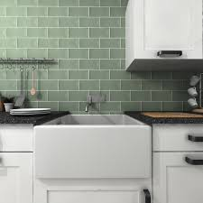 bevelled brick sage gloss wall tiles retro metro tiles 200x100x5mm