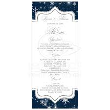 wedding menu cards a wintry wedding menu card snowflakes navy white