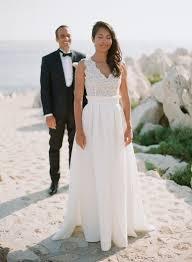 lace top wedding dress floor length destination v neck v back sleeveless lace top wedding