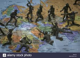 Middle East Map Games by Toy Soldiers On Map Of Middle East And Israel Face Off Stock Photo
