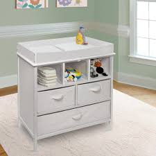 Changing Table Storage White Color Modern Baby Changing Table With Doll Towel And