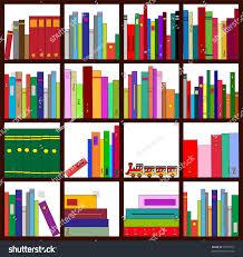 vector illustration four bookshelves loads cool stock vector