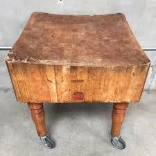 vintage butcher block table on casters urbanamericana vintage butcher block table on casters vintage butcher block table on casters