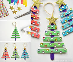 glittering popsicle stick trees made with sticker rhinestones