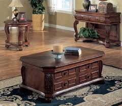 toscana home interiors mahogany 3pc occasional table set with carved leaf accents