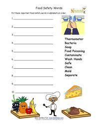 food safety worksheet for younger children alphabetize words