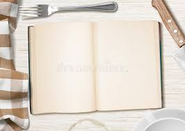 cahier cuisine table de cuisine avec le livre ouvert ou cahier pour faire cuire la