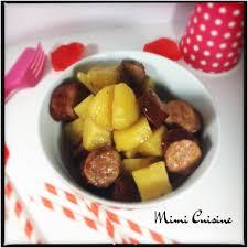 mimi cuisine saucisses fumées et ses pommes de terre sauce carré frais et