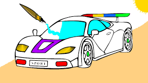 sports car coloring page learn colors for kids youtube