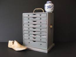 Rustic Distre Antiques Atlas Collectors Chest With Worn Paint Finish