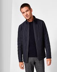 geo quilted jacket navy jackets and coats ted baker uk