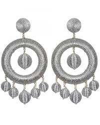suzanna dai earrings suzanna dai silver metallic chandelier hoop earrings jewelry
