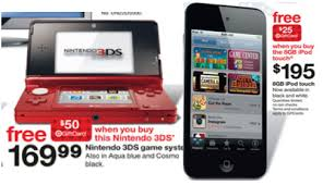 nintendo 3ds target black friday sale on 8gb ipod touch and nintenddo 3ds